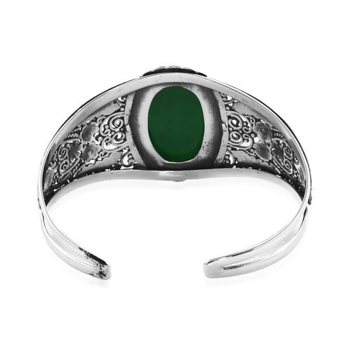 Royal Bali Collection - Green Jade (Ovl 30x20mm) Cuff Bangle (Size 7.5) in Sterling Silver 37.98 Ct, Silver wt 31.65 Gms