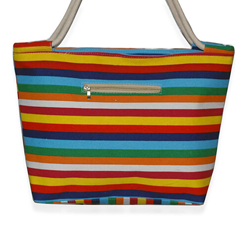 Multi Colour Stripy Beach Bag (Size 29x43)