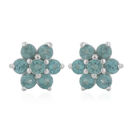 Paraibe Apatite Floral Stud Earrings (with Push Back) in Sterling Silver