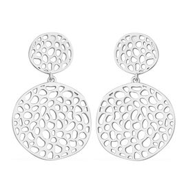 RACHEL GALLEY Lattice Disc Drop Earrings with Push Back in Rhodium Plated Silver 12.98 Grams