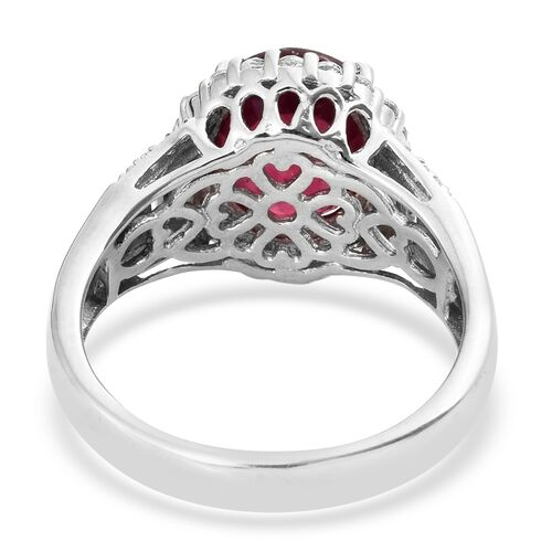 African Ruby (Ovl 6.40 Ct), White Topaz Ring in Platinum Overlay Sterling Silver 7.500 Ct. Silver wt 5.80 Gms.