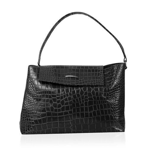 PREMIER LIMITED COLLECTION 100% Genuine Leather Croc Embossed Large Tote Handbag ( Size 40x25 cm)