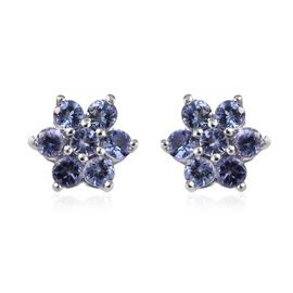 Tanzanite (Rnd) Earrings (with Push Back) in Platinum Overlay Sterling Silver 1.00 Ct.