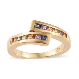 Multi Gem Stone 14K Gold Overlay Sterling Silver Ring  0.750  Ct.