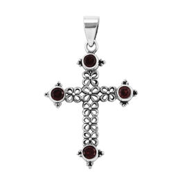 Royal Bali Collection Mozambique Garnet (Rnd) Cross Pendant in Sterling Silver 1.350 Ct, Silver wt 3.22 Gms.