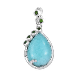 5 Carat Peruvian Amazonite and Russian Diopside solitaire Pendant in Platinum Plated Sterling Silver