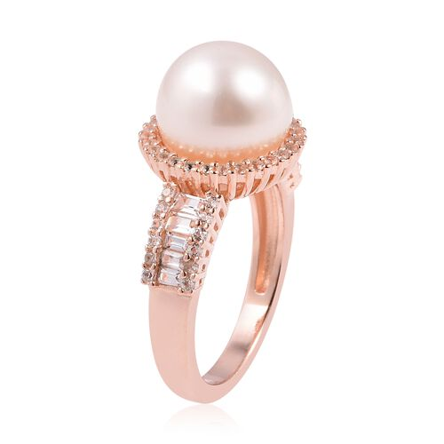 White South Sea Pearl (Rnd 10-10.5 mm), White Topaz Ring in Rose Gold Overlay Sterling Silver
