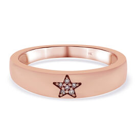 9K Rose Gold  Pink Diamond Ring in Rhodium Overlay 0.02 ct,  Gold Wt. 2.45 Gms  0.018  Ct.