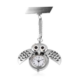 STRADA Japanese Movement Water Resistant Owl Pocket Watch in Silver Tone