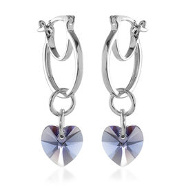 J Francis Crystal from Swarovski Tanzanite Crystal Heart Drop Hoop Earrings (with Clasp) in Sterling