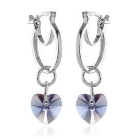 J Francis Crystal from Swarovski Tanzanite Crystal Heart Drop Hoop Earrings (with Clasp) in Sterling