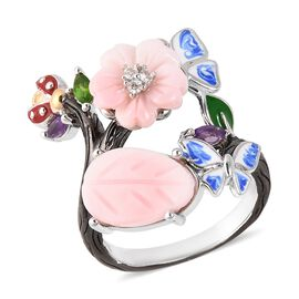Jardin Collection Pink Mother of Pearl and Multi Gemstone Bypass Ring in Silver 5.82 Grams