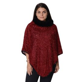 Close Out Deal- Winter Poncho with Faux Fur Collar (Size 83x97 Cm) - Wine and Black