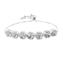 J Francis White Colour Crystal From Swarovski Bolo Bracelet in Sterling Silver 4.08 Grams