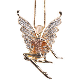 Simulated White Cats Eye, Champagne & White Austrain Crystal Fairy Pendant With Chain in Gold Tone