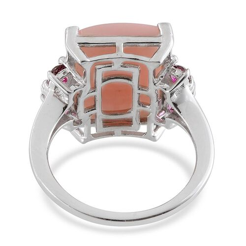 Peruvian Pink Opal (Oct 8.75 Ct), Signity Blazing Red Topaz Ring in  Platinum Overlay Sterling Silver 9.750 Ct.