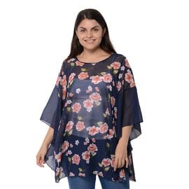 Navy Blue Colour Flower Pattern Poncho (Size 78.7x68.5 Cm)