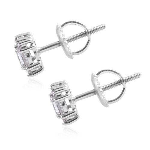 RHAPSODY 950 Platinum IGI Certified Diamond (VS/E-F) Stud Earrings (with Screw Back) 0.50 Ct.