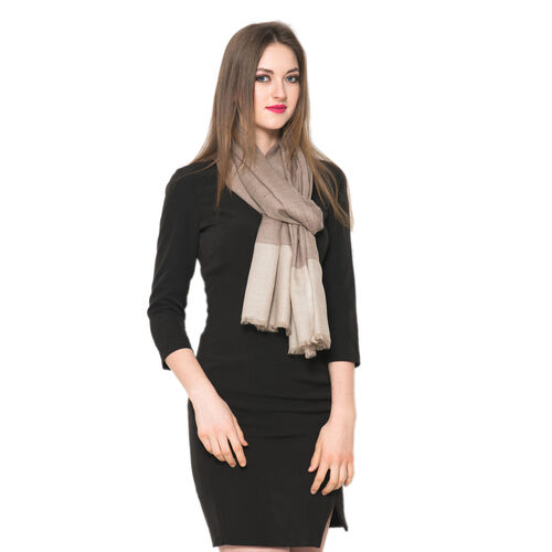 100% Cashmere Wool Chocolate and Beige Colour Shawl  L200x W70 Cm