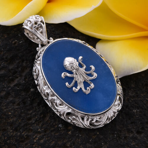 Royal Bali Collection - Blue Jade Octopus Pendant in Sterling Silver 17.00 Ct, Silver wt. 10.00 Gms