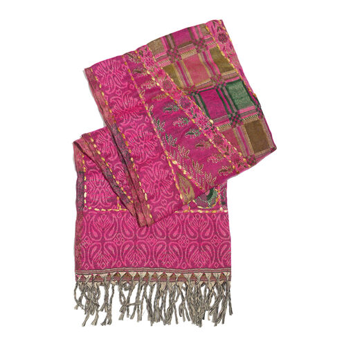 Close Out Deal - Hand Embroidered Adda Work from India - Fuchsia, Green and Multi Colour Floral Pattern Hand Embroidered Scarf with Tassels (Size 200X67 Cm)