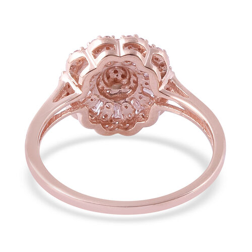 9K Rose Gold Natural Pink Diamond (Rnd and Bgt), Diamond Ring 0.50 Ct.