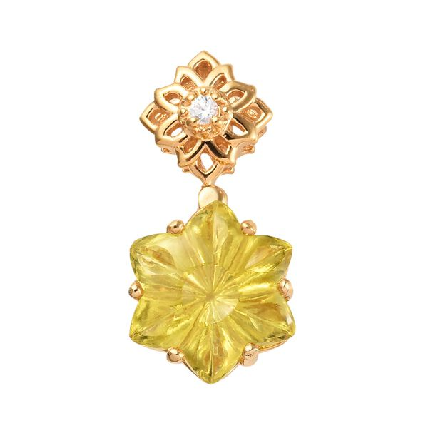 GP 10.13 Ct Brazilian Green Gold Quartz and Multi Gemstone Floral Pendant in 14K Gold Plated Silver
