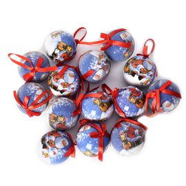 Set of 14 - Christmas Decoration Shatterproof Balls with Ribbons in the Gift Box (Dia 7.5 Cm) - Blue