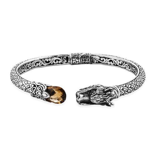 Royal Bali 3.43 Ct Citrine Cuff Bangle in Sterling Silver 25.68 Grams 7.5 Inch