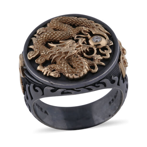 Galatea - Diamond Capitan Dragon Ring in 14K Yellow Gold and Sterling Silver