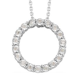 GP Diamond and Blue Sapphire Pendant with Chain in Platinum Overlay Sterling Silver