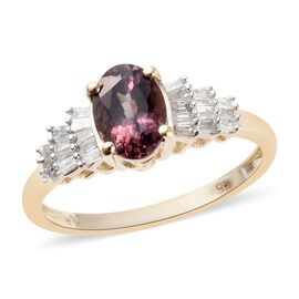 9K Yellow Gold Colour Change Garnet (Ovl 7x5 mm) and Diamond (I3/G-H) Ballerina Ring 1.00 Ct.