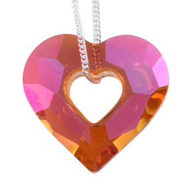 Red Colour Crystal From Swarovski Heart Pendant in Sterling Silver