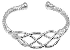 Hatton Garden Close Out Deal- Infinity Cuff Bangle (Size 7) in Silver Tone