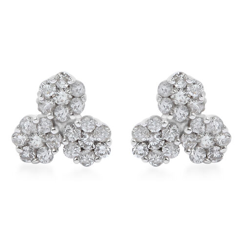 0.50 Ct Diamond Pressure Set Floral Stud Earrings in 9K White Gold SGL Certified I3 GH