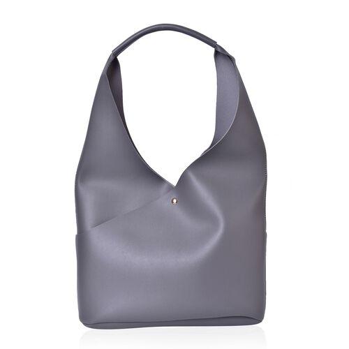 Set of 2 - Grey Colour Handbag (Size 34X25.5X10.5 Cm) and Pouch (Size 23X20X6 Cm)