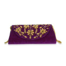Peacock Sequence Hand Embroidered Velvet Clutch with Shoulder Strap (Size 25.4x12.7 Cm) - Purple