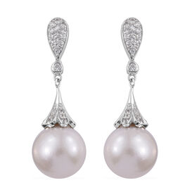 Extremely Rare Size Perfect Round Edison Pearl (Rnd 13-14 mm), Natural Cambodian Zircon Earrings (with Push Back) in Platinum Overlay Sterling Silver