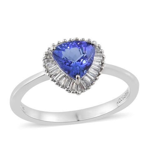 RHAPSODY 950 Platinum AAAA Tanzanite (Trl 0.750 Ct) and Diamond (VS/E-F) Ring 0.900 Ct, Platinum wt 3.72. Gms