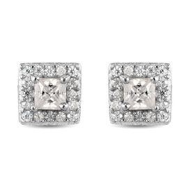 Moissanite  Main Stone With Side Stone Earring in Platinum Overlay Sterling Silver 0.40 ct  0.398  C