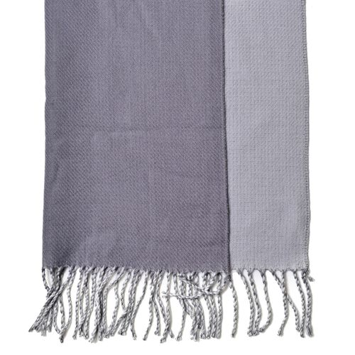 Italian Close Out Deal - Dark and Light Grey Colour Reversible Scarf with Tassels (Size 180x63 Cm)