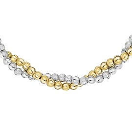 NY Close Out Deal- Yellow Gold Overlay Sterling Silver Twisted Ball Necklace (Size 18),  Sliver Wt.