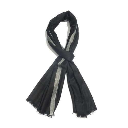 Black Colour Scarf with Lurex Border (Size 200x70 Cm)