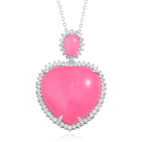 Pink Jade (Hrt 22.00 Ct), Natural White Cambodian Zircon Pendant With Chain in Rhodium Plated Sterling Silver 23.750 Ct.