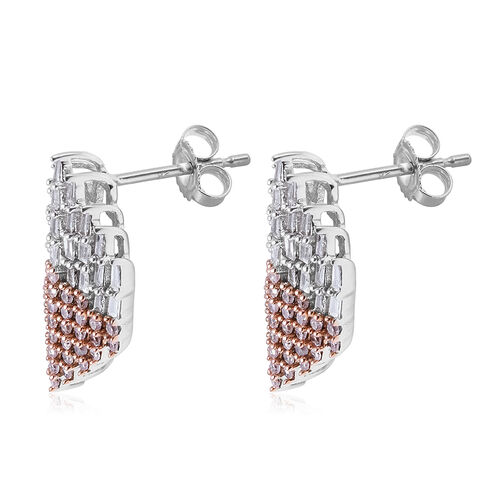 9K White Gold Diamond (Bgt), Natural Pink Diamond Earrings (with Push Back) 1.00 Ct.