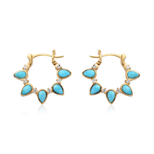 Arizona Sleeping Beauty Turquoise and Natural Cambodian Zircon Earrings (with Clasp) in 14K Gold Ove