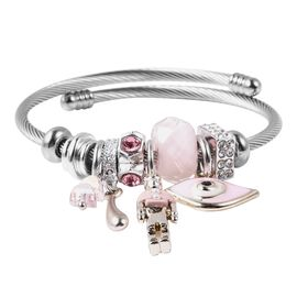 Simulated Pink Sapphire, Simulated Pearl, Pink and White Austrian Crystal and Pink Bead Charm Bracel