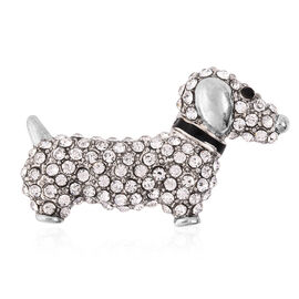 Black and White Austrian Crystal Enamelled Dog Brooch in Silver Tone
