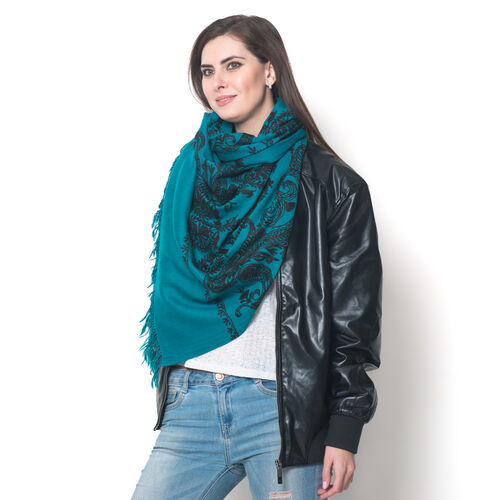 Limited Available - 100% Merino Wool Black Colour Leaf and Paisley Embroidered Indigo Colour Scarf (