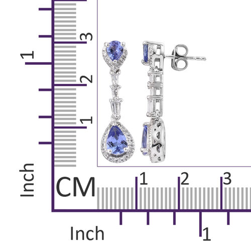 Tanzanite (Pear), White Topaz Earrings in Platinum Overlay Sterling Silver 2.500 Ct.